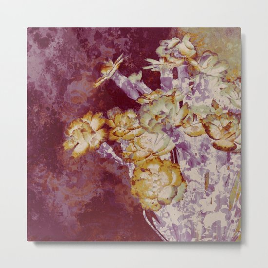 abstract bouquet and vase Metal Print