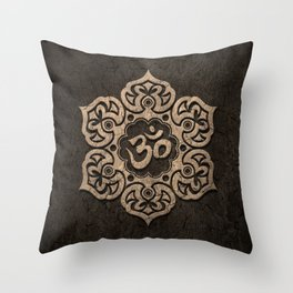 Aged Stone Lotus Flower Yoga Om Throw Pillow