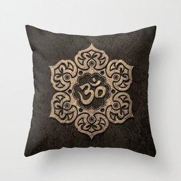 Aged Stone Lotus Flower Yoga Om Throw Pillow