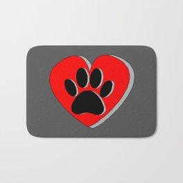 Dog Paw Red Heart Drawing Bath Mat