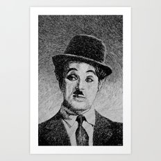 Chaplin portrait - Fingerprint Art Print
