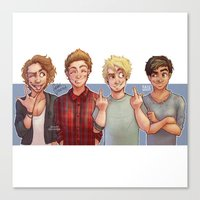 5 seconds of summer Canvas Prints featuring 5 Seconds of Summer by gabitozati