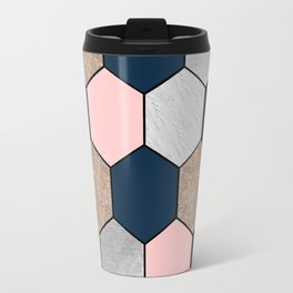 Navy and peach marble and foil hexagons Travel Mug