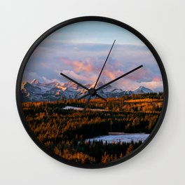Sunrise in the Rockies Wall Clock