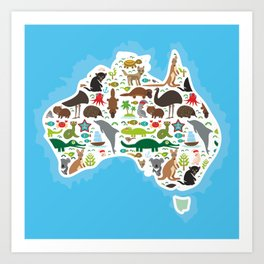map of Australia. Echidna Platypus ostrich Emu Tasmanian devil Cockatoo parrot Wombat snake turtle Art Print
