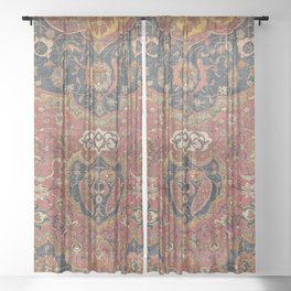 Persian Medallion Rug I // 16th Century Distressed Red Green Blue Flowery Colorful Ornate Pattern Sheer Curtain