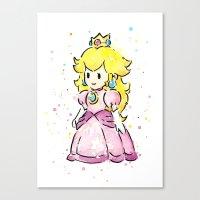 princess peach Canvas Prints featuring Princess Peach by Olechka