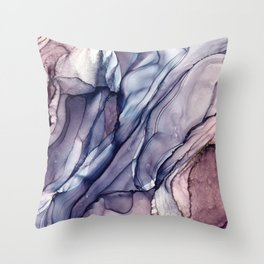 Slate Purple and Sparkle Flowing Abstract Throw Pillow