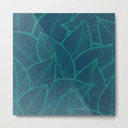 Blue Green Leaves Metal Print