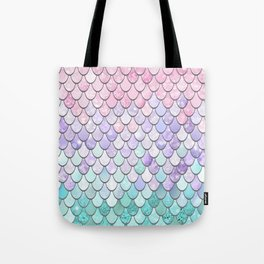 Mermaid Pastel Pink Purple Aqua Teal Tote Bag