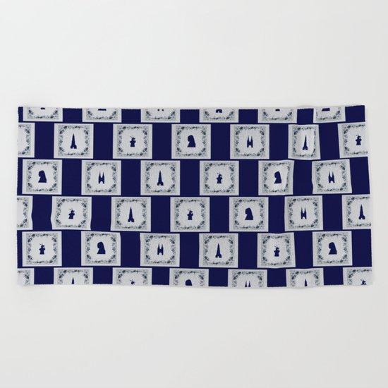 Collage Delft blue tiles Beach Towel
