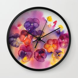 Spring watercolor flowers art colorful pansies Wall Clock