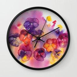 Spring watercolor flowers art colorful pansies Wall Clock