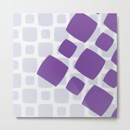 Retro Purple Blocks Digital Pattern Print Metal Print