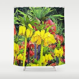 YELLOW CROWN IMPERIAL WATERCOLOR Shower Curtain