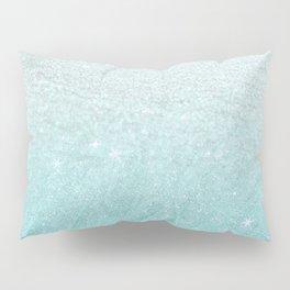 Modern chic teal pastel gradient faux glitter Pillow Sham