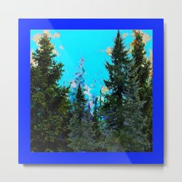 WESTERN PINE TREES LANDSCAPE IN BLUE Metal Print