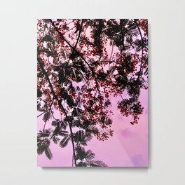 Red Tropical Blooms at Pink Sunset Metal Print