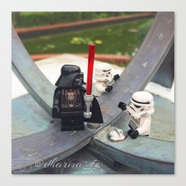 Darth Vader And Storm Trooper checking out the sun dial. Canvas Print