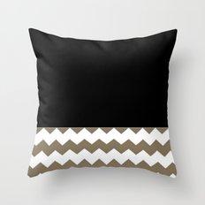Chevron Khaki Black And White Throw Pillow