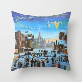 """A Christmas Carol """"Scrooge and the ghost of Christmas past"""" Throw Pillow"""