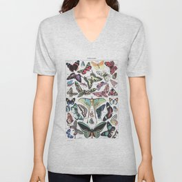 Papillons - Adolphe Millot/Larousse Butterflies Unisex V-Neck