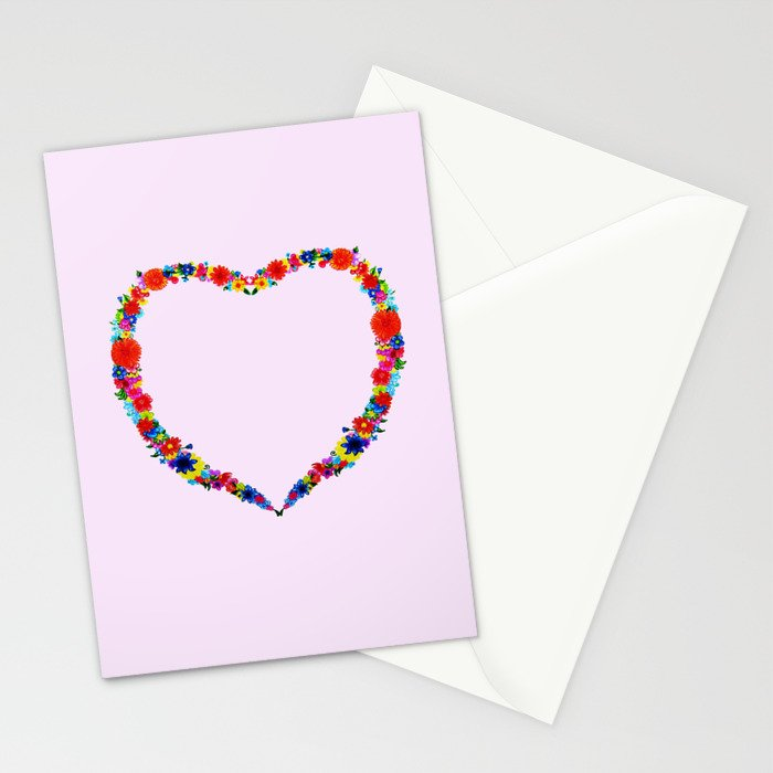 heart made of flowers on a pink background . Artwork Stationery Cards