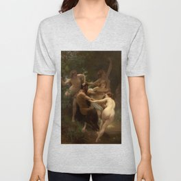 Nymphs and Satyr by William Adolphe Bouguereau Unisex V-Neck