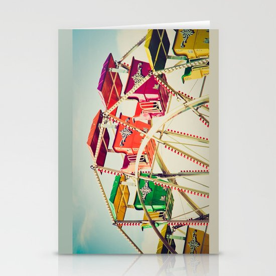 Colorful Ferris Wheel Cars Stationery Cards
