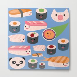 Kawaii sushi blue Metal Print