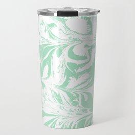Asa - spilled ink mint marble japanese watercolor marbling marbled water wave ocean sea minimal Travel Mug