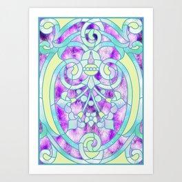 Art Nouveau Aqua and Purple Batik Design Art Print