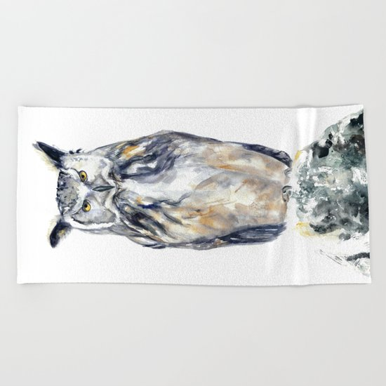 A Serious Owl Beach Towel