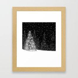 Elegant Black and White Christmas Trees Holiday Pattern Framed Art Print