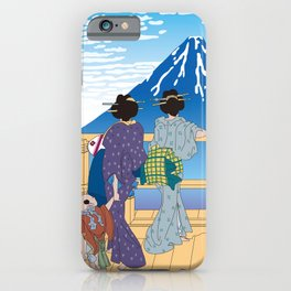Hokusai People Seeing Mt. Fuji under the Clear Sky iPhone Case