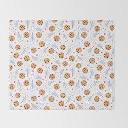 Happy Milk and Cookies Pattern Throw Blanket
