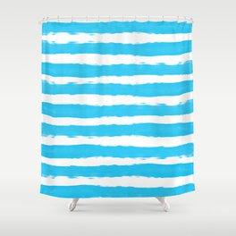 Simple aqua and white handrawn stripes - horizontal - for your summer Shower Curtain
