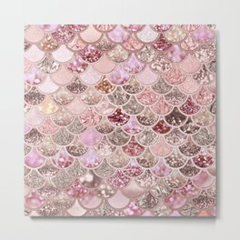 Rose Gold Blush Glitter Ombre Mermaid Scales Pattern Metal Print