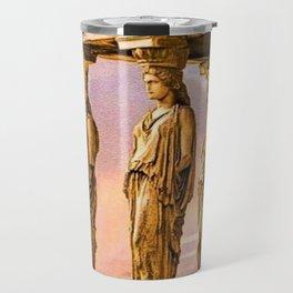Porch of the Caryatids, Temple of Athena, Acropolis, Greece Portrait Painting Travel Mug
