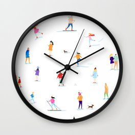 Winter people joy Wall Clock