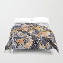 Jagged Mountain Sketch Duvet Cover