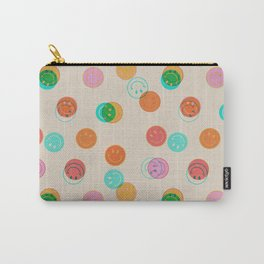Smiley Face Stamp Print Carry-All Pouch