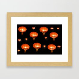 Orange chinese lampions with black background Framed Art Print