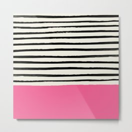 Watermelon & Stripes Metal Print
