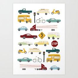Beep Beep! Cars and Trucks Traffic Pattern Art Print