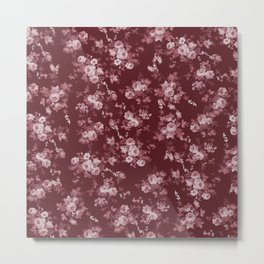 Pastel pink marsala red modern elegant roses floral Metal Print
