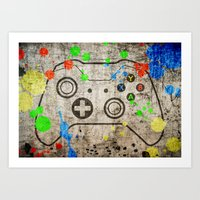 xbox Art Prints featuring Controller Graffiti XBox One by AngoldArts
