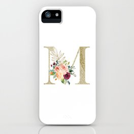 M Monogram Gold Foil Initial with Watercolor Flowers iPhone Case