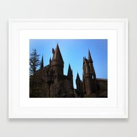 hogwarts Framed Art Prints featuring Hogwarts by Blue Lightning Creative