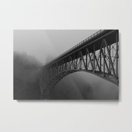 Bridge, Deception Pass Fog Metal Print